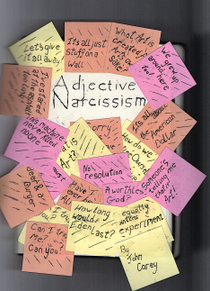Notebook covered in post-it notes for J.W. Carey's Adjective Narcissism
