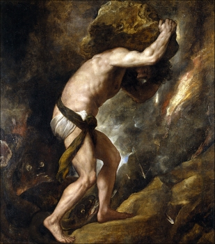 Sisyphus was condemned to roll a heavy rock up a steep hill, only to watch it roll down again, for all eternity. His legend was the ideal representation for Camusian absurdity.