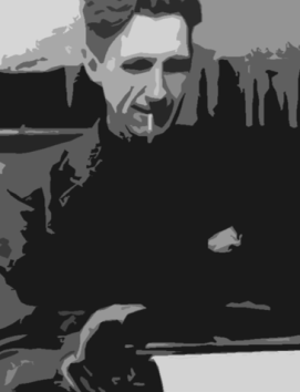 Edited image of George Orwell smoking and typing